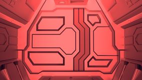 3D rendering of realistic sci-fi spaceship red hangar door. 3D Illustration of realistic sci-fi spaceship red hangar door royalty free illustration