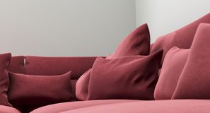 Realistic Sofa Cushions Closeup. 3D Rendering Of Realistic Sofa Cushions Closeup Stock Photos