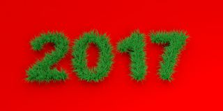 3d rendering 2017 on red background. 3d rendering 2017 in grass on red background Royalty Free Stock Photography