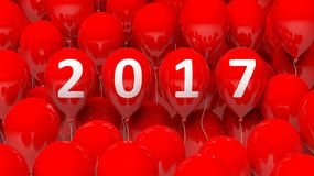 3D rendering of red balloons with 2017. New year Royalty Free Illustration