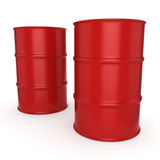 3D rendering red barrels Royalty Free Stock Images