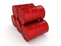 3D rendering red barrels Stock Images