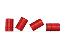 3D rendering red barrels. Not contain any inscriptions stock illustration
