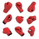 3d rendering of a red boxing glove on white background in many different angles. Fighting accessories. Sporting gear. Punching glove Royalty Free Stock Images