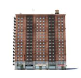 3d rendering of a red brick apartment building with fire escapes and shops on the ground floor. Living places. Urban residence. Condominium Stock Photo