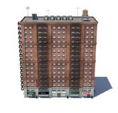 3d rendering of a red brick apartment building with fire escapes. 3d rendering of a red brick apartment building with fire escapes and shops on the ground Royalty Free Stock Photography
