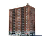 3d rendering of a red brick apartment building with fire escapes and shops on the ground floor. Living places. Urban residence. Condominium Royalty Free Stock Photo