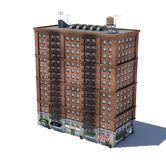 3d rendering of a red brick apartment building with fire escapes and shops on the ground floor. Living places. Urban residence. Condominium Royalty Free Stock Image