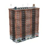3d rendering of a red brick apartment building with fire escapes and shops on the ground floor. Living places. Urban residence. Condominium Stock Photography