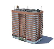 3d rendering of a red brick apartment building with shops. On the ground floor. Living places. Urban residence. Condominium Royalty Free Stock Photo