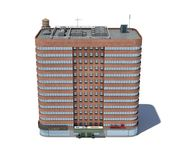 3d rendering of a red brick apartment building with shops on the ground floor. Living places. Urban residence. Condominium Royalty Free Stock Photo
