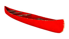 3D Rendering Red Canoe on White Stock Photography