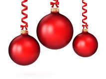 3D rendering red Christmas ball. On a white background Royalty Free Stock Photo