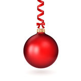 3D rendering red Christmas ball. On a white background Royalty Free Stock Images