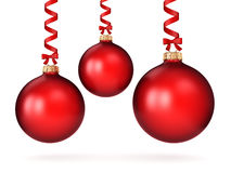 3D rendering red Christmas ball. On a white background Royalty Free Stock Photography