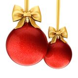 3D rendering red Christmas balls with gold ribbon and bow Royalty Free Stock Photography
