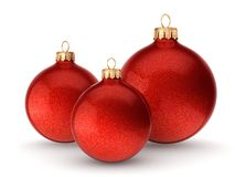 3D rendering red Christmas balls Stock Images