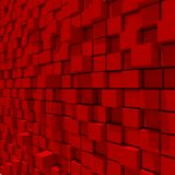 3d rendering of red cubic random level background. 3d rendering of acstract red cubic random level background Stock Photos