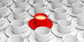 3d rendering red cup with coffee among white cups Stock Photo