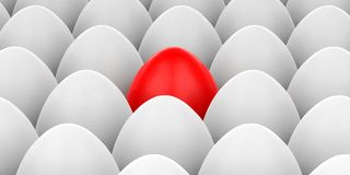 3d rendering red egg on white eggs background Royalty Free Stock Image