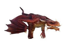 3D Rendering Fairy Tale Dragon on White Royalty Free Stock Image