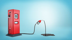 3d rendering of a red gas pump connected to a red nozzle that`s leaking petrol into a black puddle. Car stop. Gas station. Transportation business vector illustration