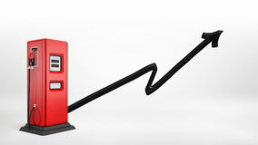 3d rendering of a red gas pump with a nozzle attached in side view on white background with a black paint brushed arrow Stock Photo