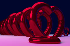 3D rendering of red, glossy hearts Stock Photo
