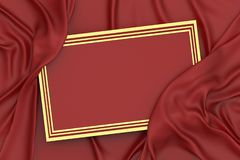 3d rendering red and gold frame and drapery royalty free stock photos