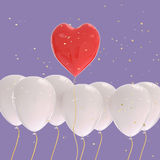 3D rendering of a red heart balloons over white balloon Royalty Free Stock Images