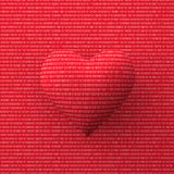 3D rendering of a red heart made of zero and one digits. On a red background vector illustration