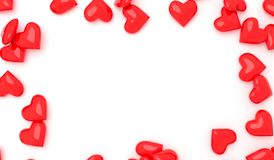 Red Hearts On White Surface Stock Photo