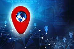 Navigation concept, Gps navigation, travel destination, location and positioning concept. 3d illustration. 3d rendering Red map pointer with globe. navigation stock illustration