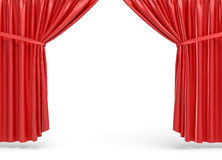 3d rendering of red opened stage curtains on white background. Royalty Free Stock Photos