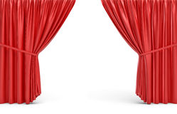 3d rendering of red opened stage curtains on white background. Stock Photos