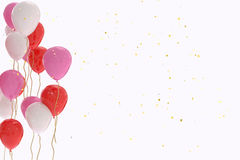 3D rendering of red, pink and white balloons on white background. With copy space Stock Photo