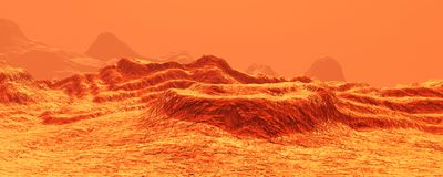 3D Rendering Planet Mars Lanscape. 3D rendering of a red planet Mars landscape Royalty Free Stock Photos