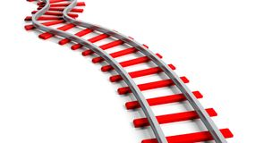 3D rendering red railway track Stock Photos