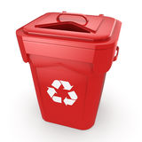 3D rendering Red Recycling Bin. Isolated on white background stock illustration