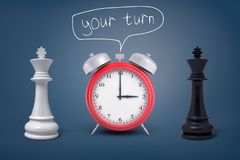 3d rendering of a red retro alarm clock stands between a black and a white king under lettering Your turn. Time to decide. Difficult choice. Strategy and haste Stock Images