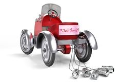 3d rendering of the red retro pedals car with Just Married banner sign and rope tied cans at the bumper, isolated on white stock illustration