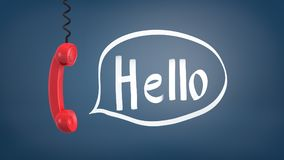 3d rendering of a red retro phone receiver hangs down from a cable near a speech bubble with a word Hello inside it. Royalty Free Stock Photography