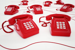 3D rendering of red telephone Royalty Free Stock Images