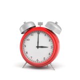3d rendering of a red vintage alarm clock with double metal bells isolated   Royalty Free Stock Image