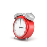 3d rendering of a red vintage alarm clock with double metal bells isolated on white  Royalty Free Stock Photos