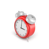 3d rendering of a red vintage alarm clock with double metal bells  on white background. Stock Photos