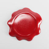 3d rendering red wax seal blank mock-up isolated on white backgr. Ound Stock Image