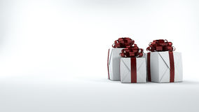 3d rendering red and white gift box for christmas. 3d rendering by 3dsmax program Stock Photos