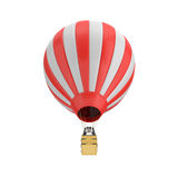 3d rendering of a red and white hot air balloon with a basket on white background. Air travel and aircraft. Tourism and recreation. Sky objects Stock Photo