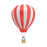 3d rendering of a red and white hot air balloon with a basket on white background. Air travel and aircraft. Tourism and recreation. Sky objects Stock Photos
